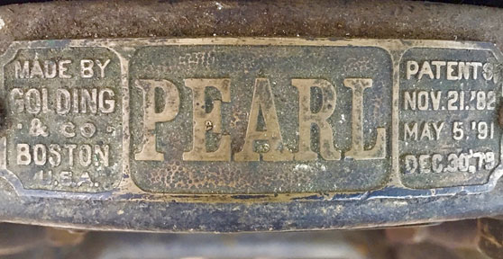 Golding Pearl press nameplate